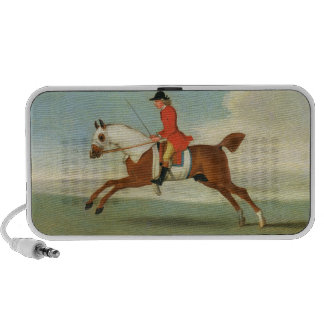 Galloping Racehorse and mounted Jockey in Red (oil Mini Speakers