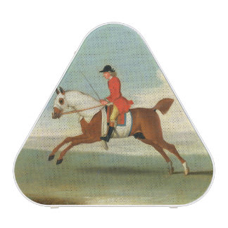 Galloping Racehorse and mounted Jockey in Red (oil