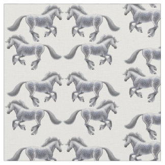 Galloping Shire Draft Horses Fabric