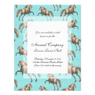 Galloping Spanish Stallions Aqua Background Personalized Invitation
