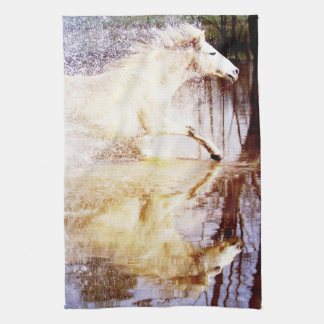 Galloping White Water Horse Tea Towel