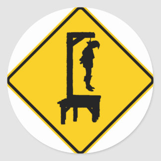 Gallows Ahead Highway Sign Classic Round Sticker