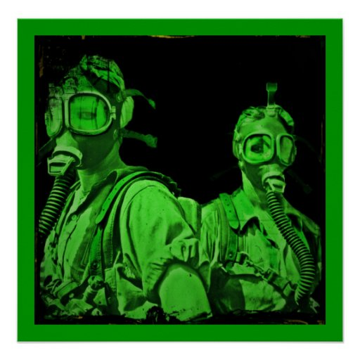 Gals in Neon Green Gas Masks Posters