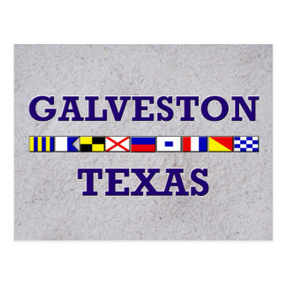 Galveston Nautical Flag - Sand Postcard