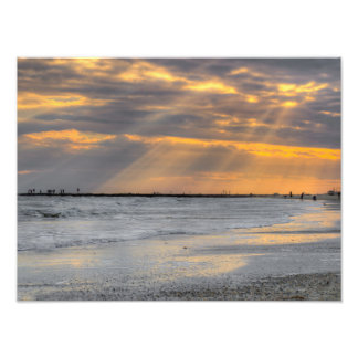 Galveston Sunset Rays Art Photo