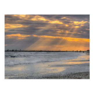 Galveston Sunset Rays Postcard