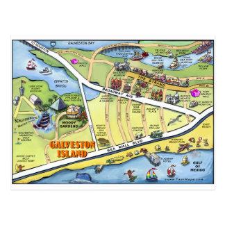 Galveston Texas Cartoon Map Postcard