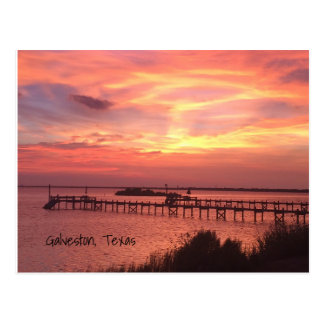Galveston Texas Sunset Postcard