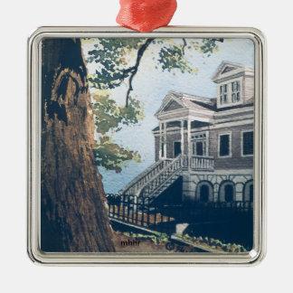 Galveston Watercolor, 1876 William Weber House Metal Ornament