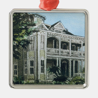 Galveston Watercolor, 1886 Joel Wolfe House Metal Ornament