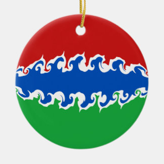 Gambia Gnarly Flag Round Ceramic Decoration