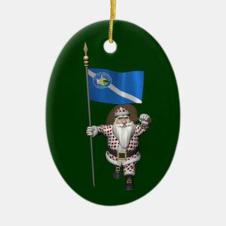 Gambler Santa Claus With Ensign Of Las Vegas Ceramic Ornament