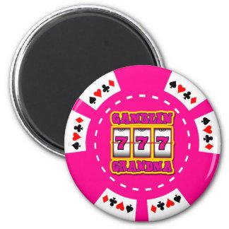 GAMBLIN GRANDMA POKER CHIP MAGNET