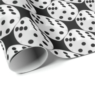 Gambling black white dice tiled wrapping paper