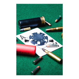 Gambling cards and bullets personalized stationery