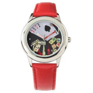 Gambling casino gaming pieces wristwatch
