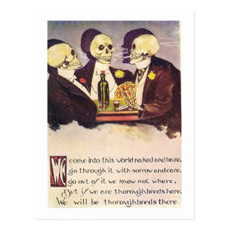 Gambling skeletons vintage image postcard