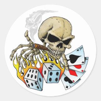 Gambling Skull Classic Round Sticker