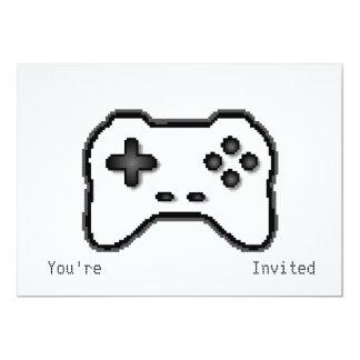 Game Controller Black White 8bit Video Game Style 13 Cm X 18 Cm Invitation Card