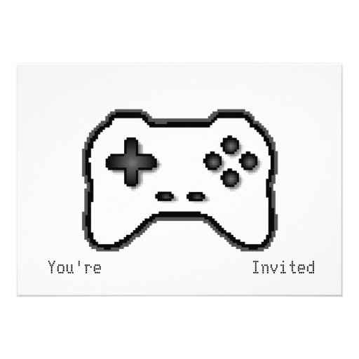 Game Controller Black White 8bit Video Game Style Custom Invitations