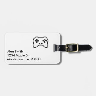 Game Controller Black White 8bit Video Game Style Luggage Tag