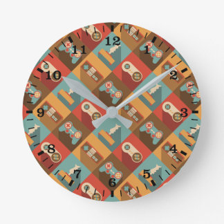 Game Controller Pattern (Hipster Style) Round Clock