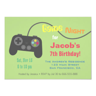 Game Controller Video Game Night Party 11 Cm X 16 Cm Invitation Card