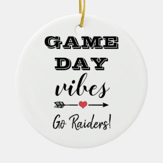 Game Day Vibes Team Heart Personalized Text Ceramic Ornament