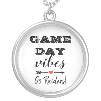 Game Day Vibes Team Heart Personalized Text Silver Plated Necklace