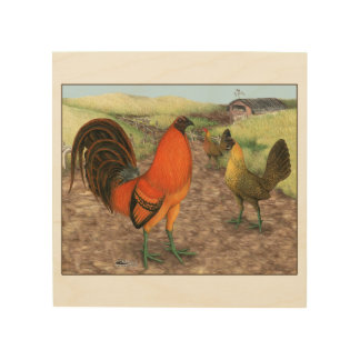 Game Fowl on the Farm Wood Wall Art
