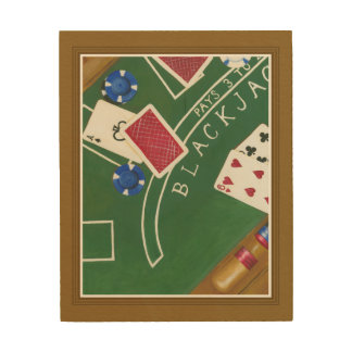 Game of Blackjack with Chips by Chariklia Zarris Wood Wall Decor