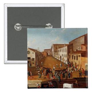 Game of Bowls in the Campo dei Gesuiti, Venice 15 Cm Square Badge