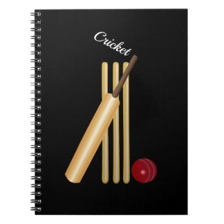Game of Cricket, Bat and Ball, White Text Spiral Notebooks