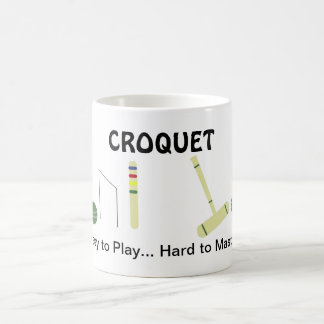 Game of Croquet with Saying Basic White Mug