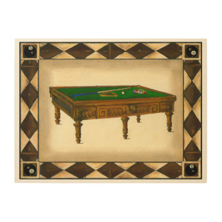 Game of Eight Ball on Billiards Table Wood Wall Art