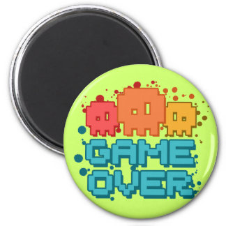 Game Over 6 Cm Round Magnet