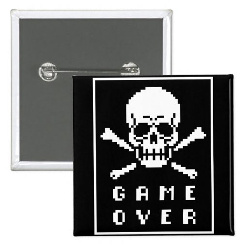 Game Over 8-Bit Skull And Crossbones Button
