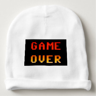 Game over 8bit retro baby beanie