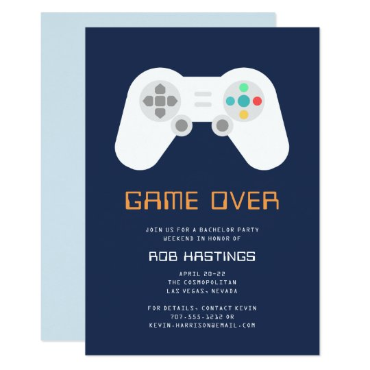 Game Over | Bachelor Party Invitation