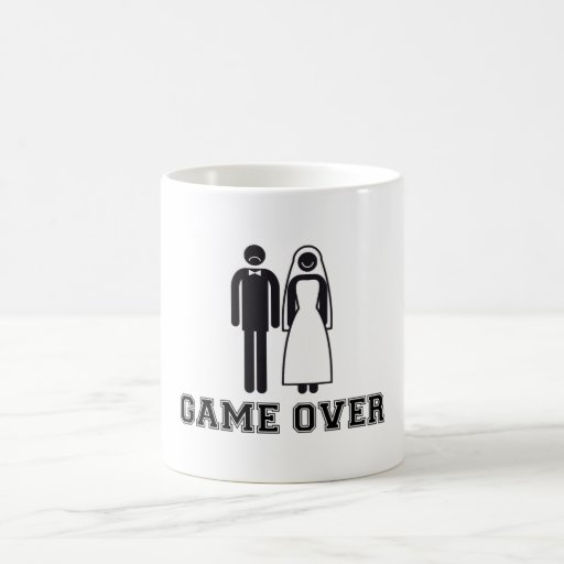 Game over, bride and groom, wedding couple coffee mugs