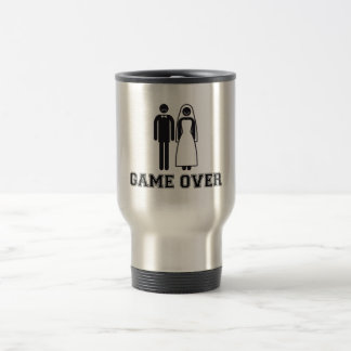 Game over, bride and groom, wedding couple travel mug