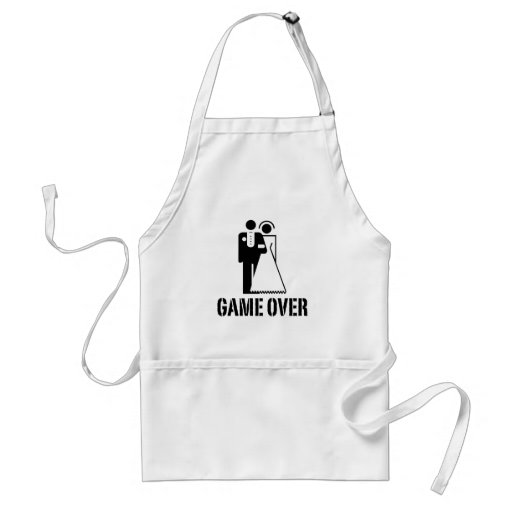 Game Over Bride Groom Wedding Apron