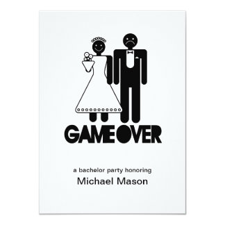 Game Over - Last day as a free man Bachleor Party 11 Cm X 16 Cm Invitation Card
