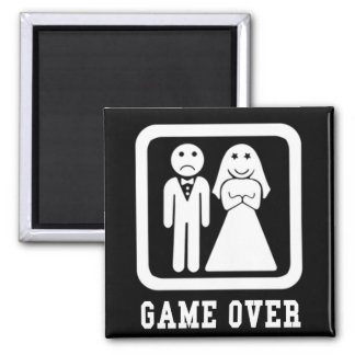 Game Over Square Magnet