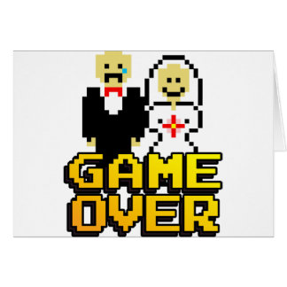 Game over marriage 8-bit greeting card