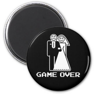 Game Over Marriage Game Over Funny tshirt 6 Cm Round Magnet