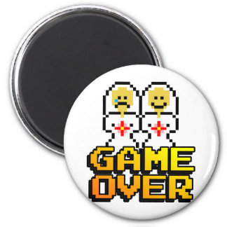 Game Over Marriage (Lesbian, 8-bit) 6 Cm Round Magnet