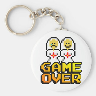 Game Over Marriage (Lesbian, 8-bit) Basic Round Button Key Ring
