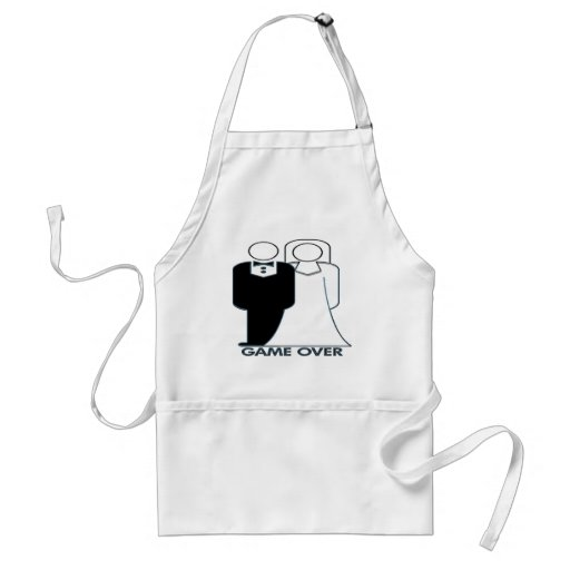 Game Over Wedding Couple Funny Design Aprons