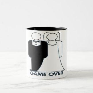 Game Over Wedding Couple Funny Design Two-Tone Coffee Mug